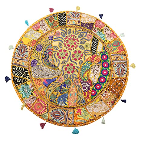 Amazon.com: Funda cojín de piso Asiento grande clásico indio ...
