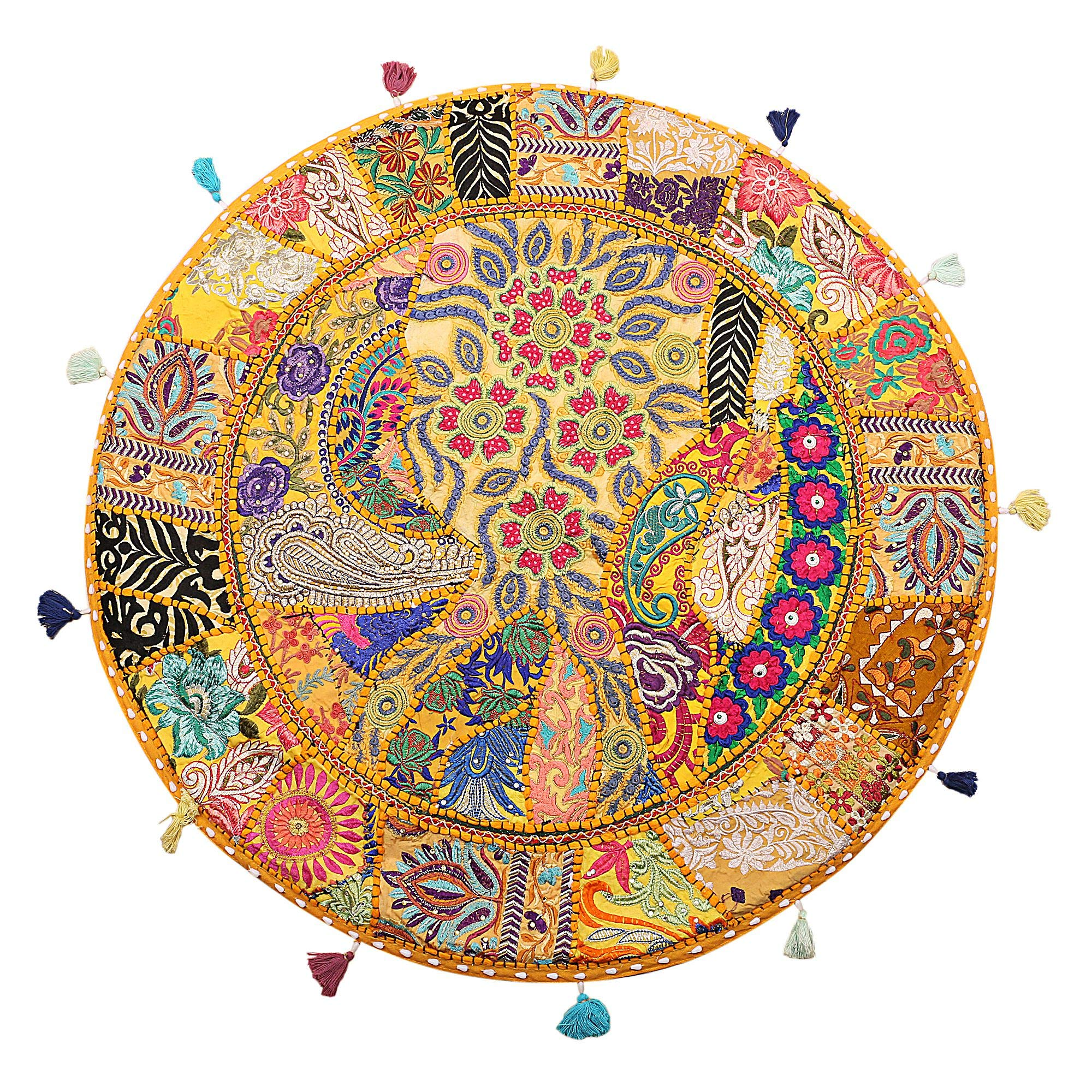 Stylo Culture Round Indian Cotton Large Floor Cushion Seating Cover Vintage Embroidered Patchwork Yellow 32'' Floor Pillow Case