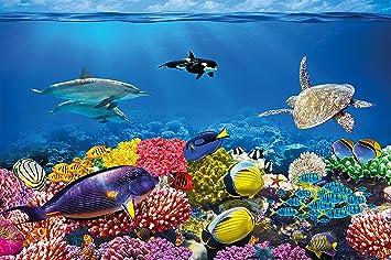 GREAT ART Póster Cuarto de niño Acuario Mural Decoración Mundo Submarino Criaturas Marinas Océano Peces Defín