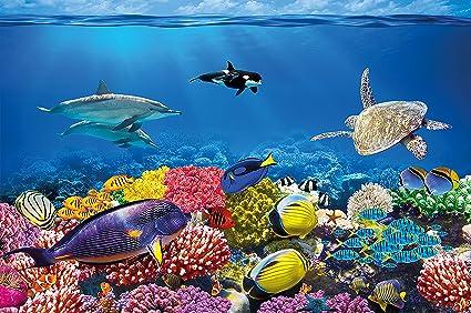Póster Cuarto de niño Acuario Mural Decoración Mundo submarino Criaturas marinas Océano Peces Defín Tortuga Arrecife