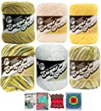 Lily Sugar n' Cream Variety Assortment 6 Pack Bundle 100% Cotton Medium 4 Worsted with 4 Patterns (Asst 55)