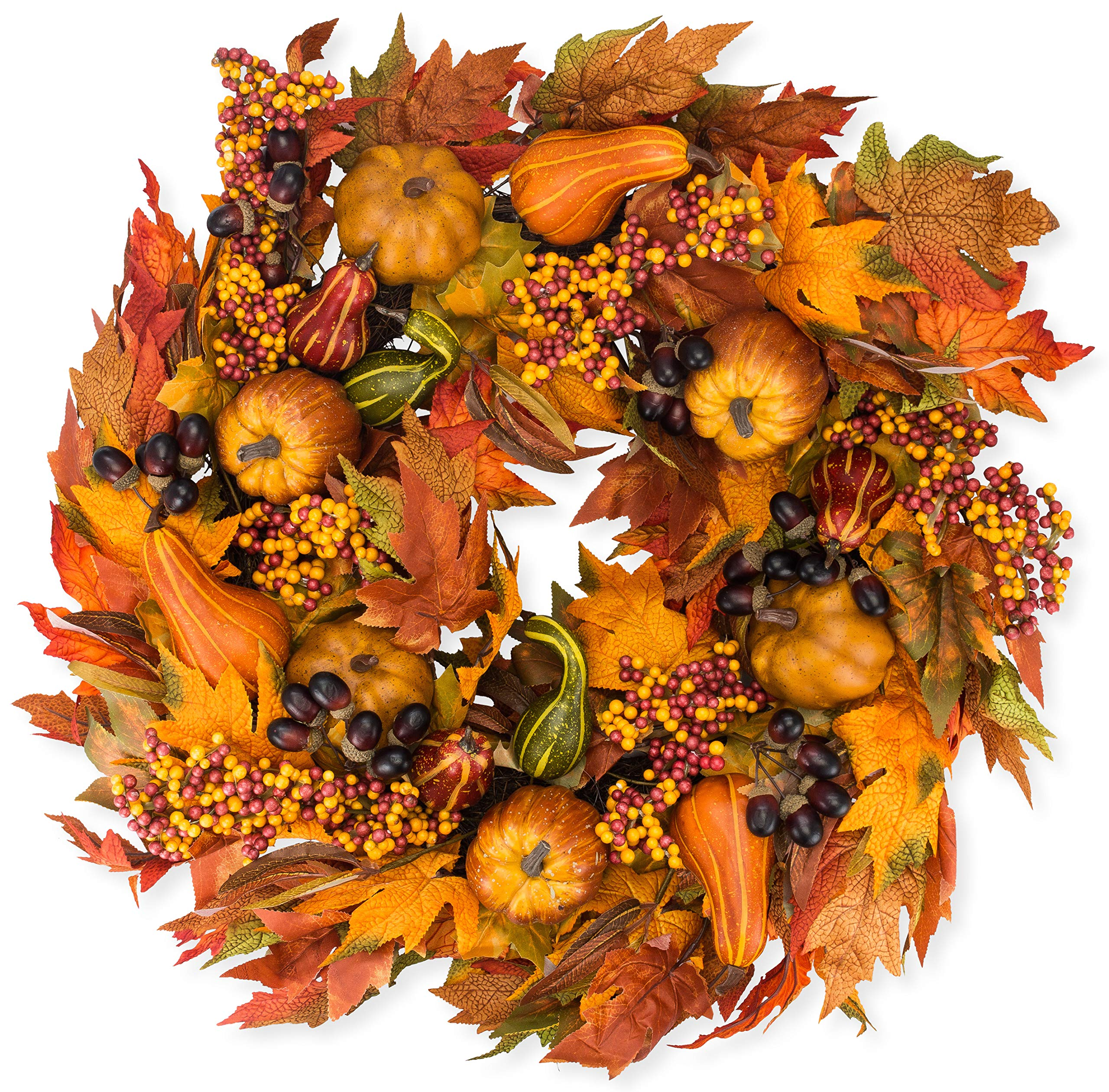 The Wreath Depot Montgomery Hollow Silk Fall Door Wreath, 26 inch, Beautiful White Gift Box Included by The Wreath Depot
