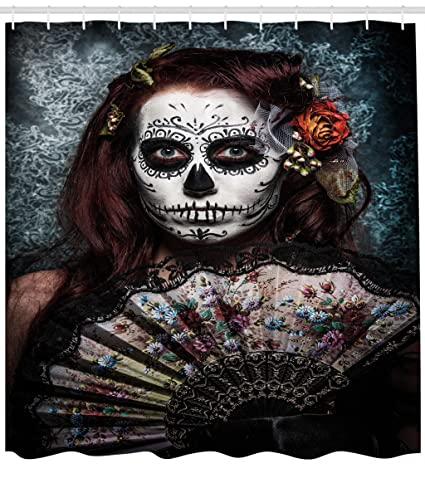 Ambesonne Day Of The Dead Decor Shower Curtain Make Up Artist Girl With Skull
