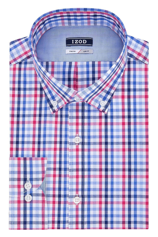 Izod Mens Slim Fit Stretch Tattersall Buttondown Collar Dress Shirt Izod Dress Shirts 2301469