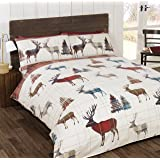 Rapport So Soft Flannelette Stag King Size Duvet Cover and 2 Pillowcases Bedding Bed Set Brushed Cotton Quilt Cover Red, Red