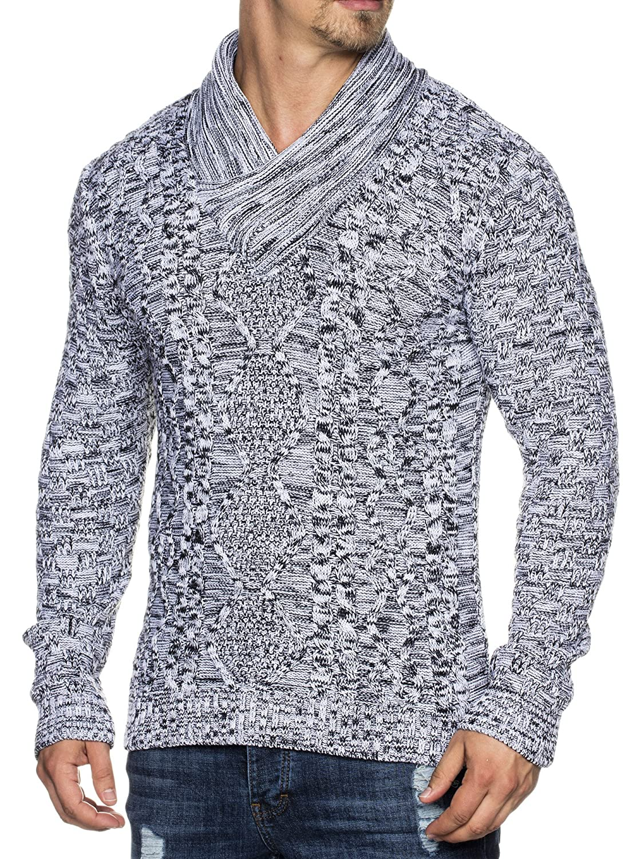 Tazzio 16488 entallado Jersey de punto con cuello tipo bufanda para hombre