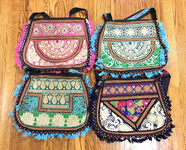 4e6cb5ecd Amazon.com: Wholesale lot of 5pc Mix Designs Women Sling Cross-body bag,  Kutchi Embroidered Girls Crossbody bag, Ethnic indian Embroidered Gypsy bag.