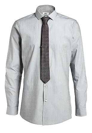 next Hombre Camisa De Corte Entallado con Corbata Y Alfiler ...