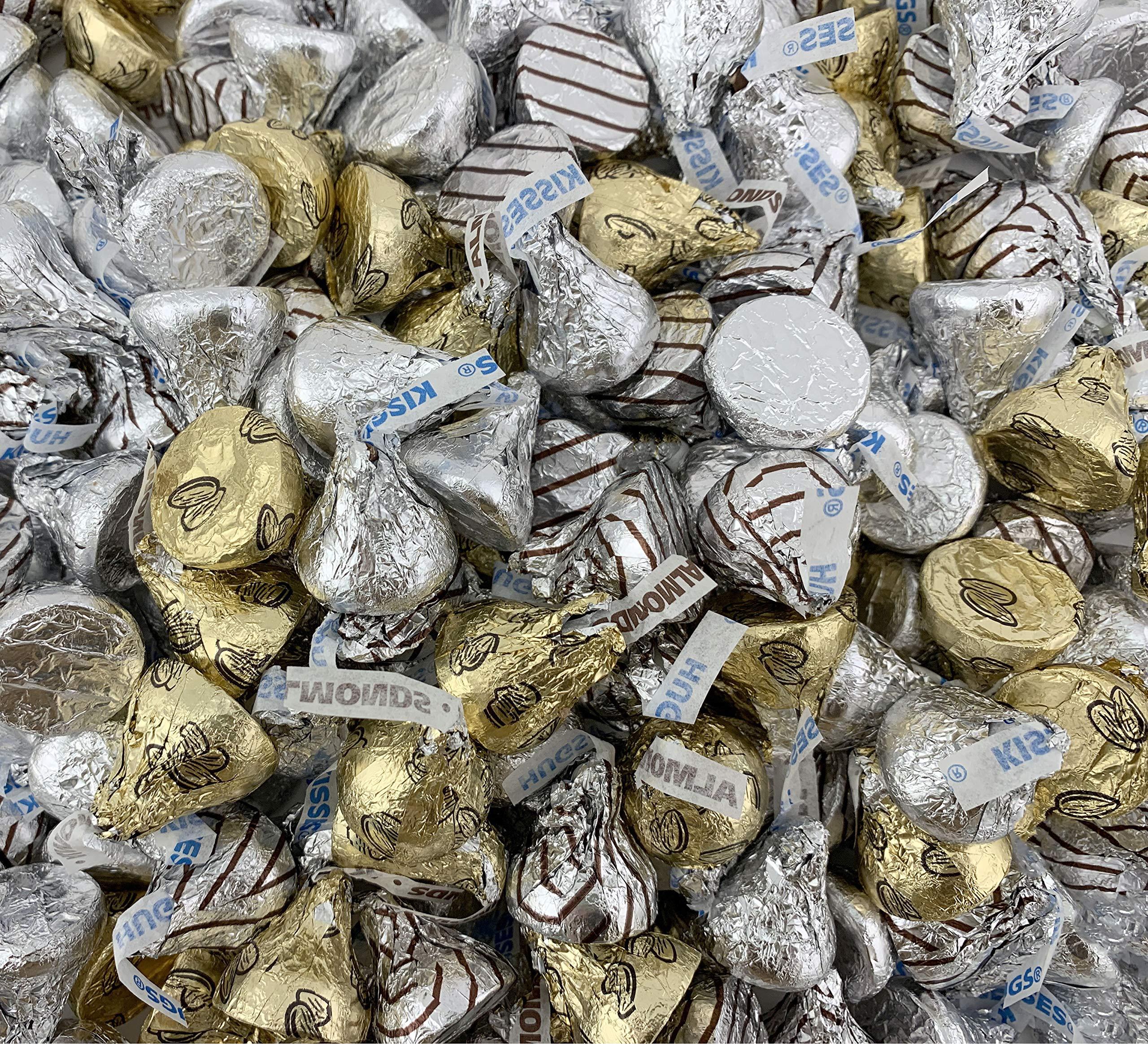 Spring HERSHEY'S KISSES Candy Assortment HERSHEY'S KISSES Milk Chocolate, KISSES HUGS White Creme, KISSES Almonds, Gold Silver Foil, Bulk 4 Pounds