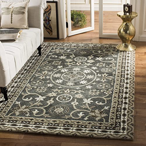 Safavieh Bella Collection BEL674A Handmade Grey and Taupe Premium Wool Area Rug 4 x 6