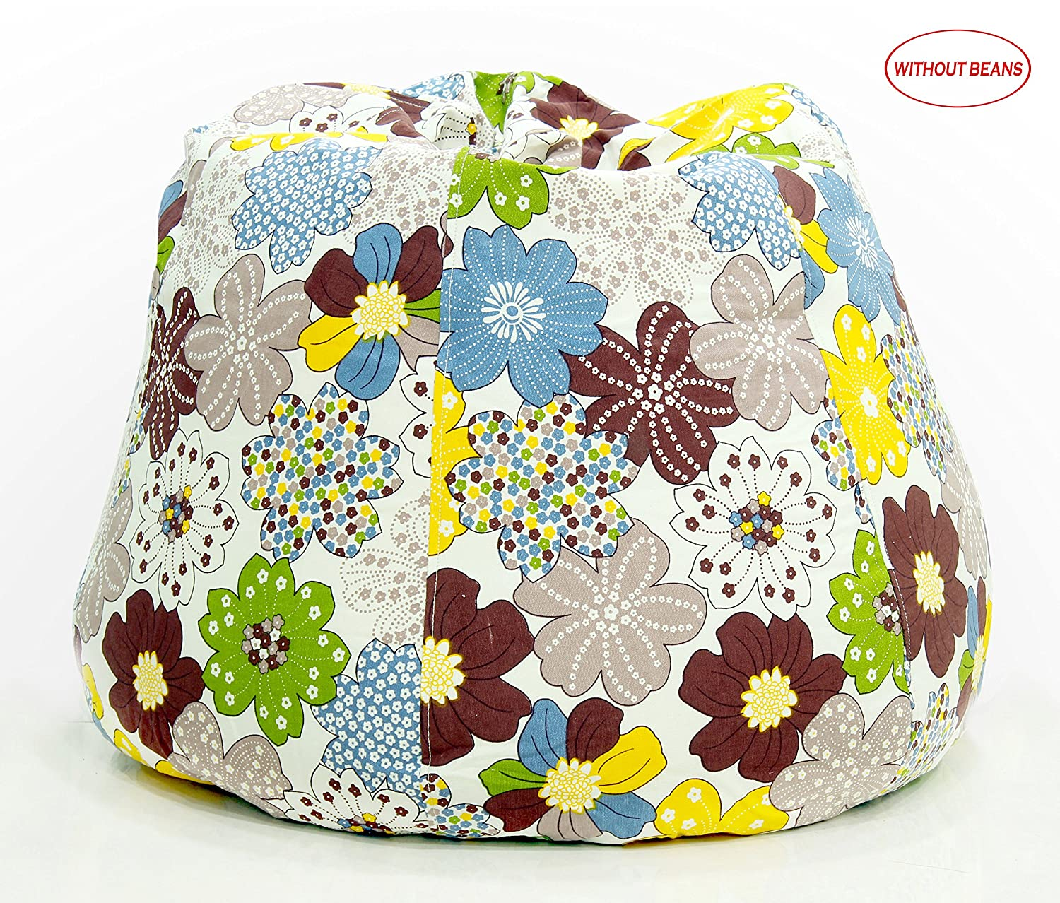 Story@Home XXL Flower Print Canvas Bean Bag Chair Cover Without Beans, Brown