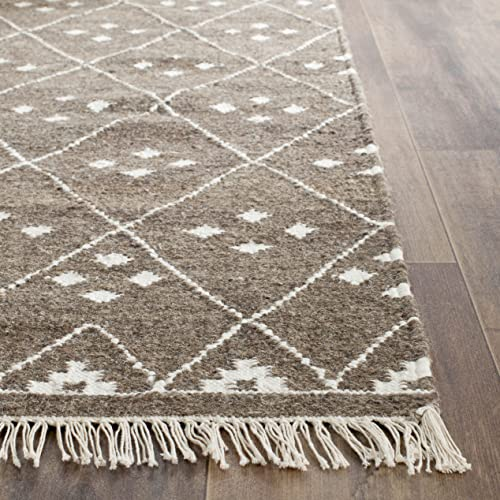 Safavieh Natural Kilim Collection NKM316A Flatweave Brown and Ivory Wool Area Rug 10' x 14'