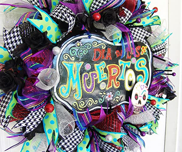 Clearance Sale Day Of The Dead Wreath Dia De Los Muertos Halloween Skull