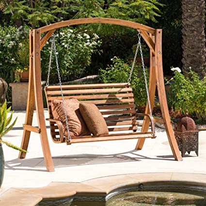 Fabulous Christopher Knight Home 295357 Marlette Outdoor Wood Swinging Bench And Base Brown Pabps2019 Chair Design Images Pabps2019Com