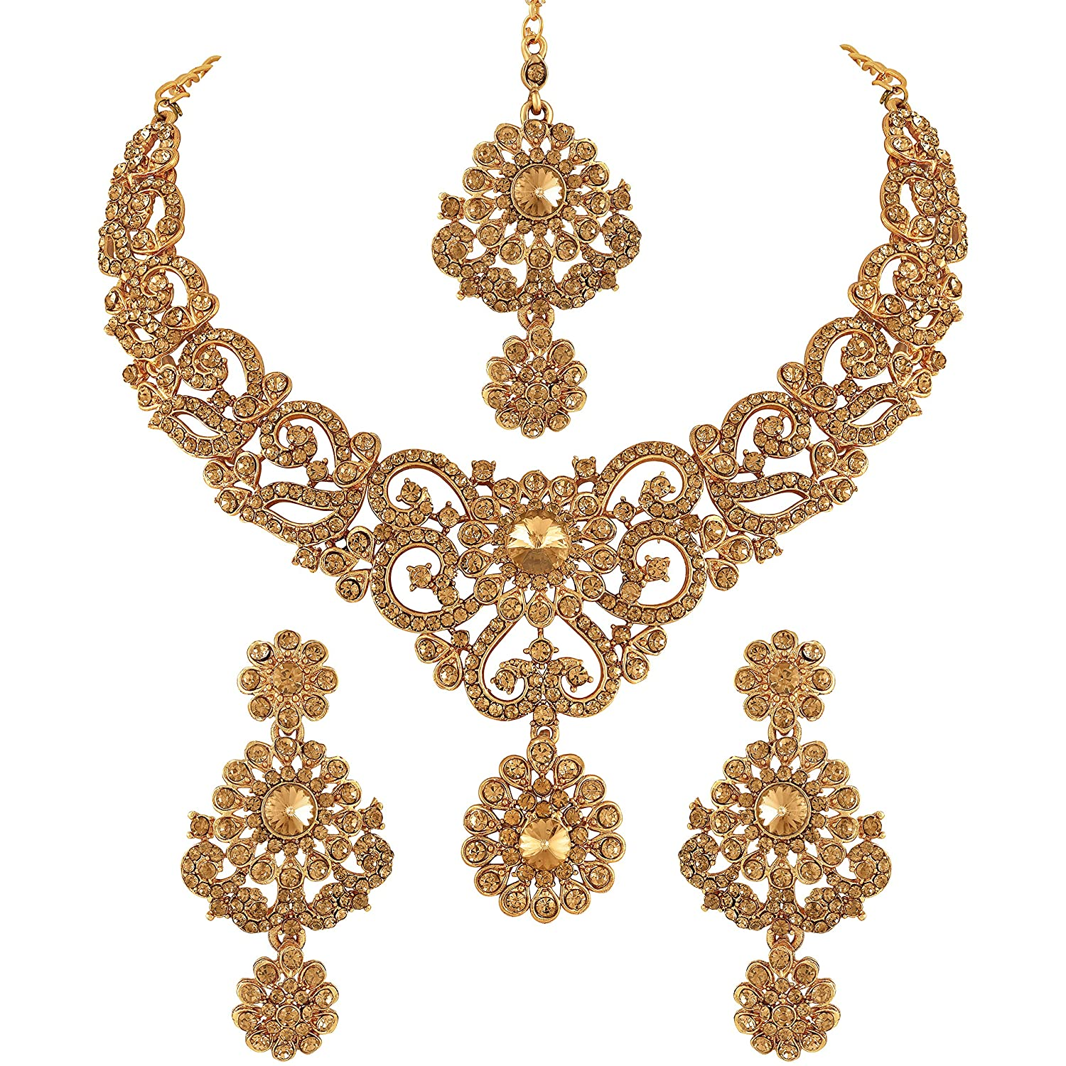a1da7769dfe Vatsalya Creation Traditional Diamond Necklace Set Gold Plated For Women's