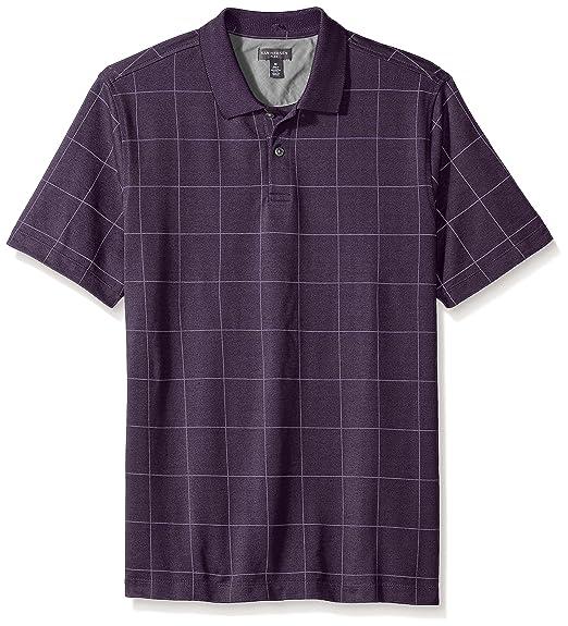7d65db89 Van Heusen Men's Short Sleeve Printed Windowpane Polo Shirt, Blackberry  Plum, ...