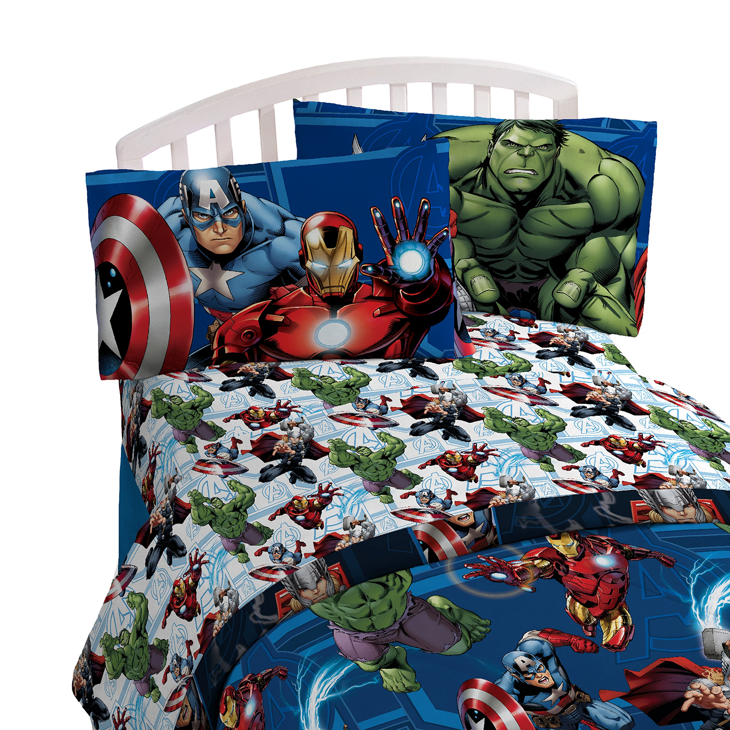 Marvel Avengers Heroic Age Blue/White 3 Piece Twin Sheet Set with Captain America, Thor, Ironman & Hulk by Marvel (Image #3)