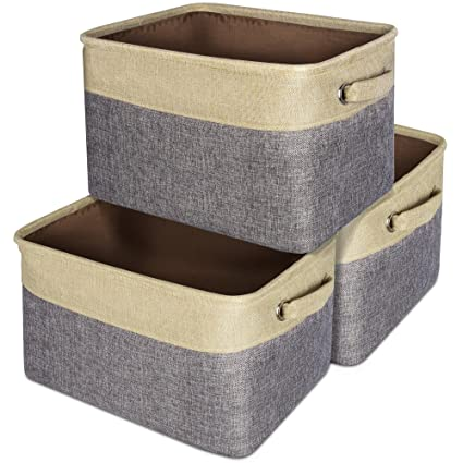 Collapsible Storage Baskets, Packism 3 Packs Rectangular Storage Bins With  Dual Handles Cotton Jute Storage