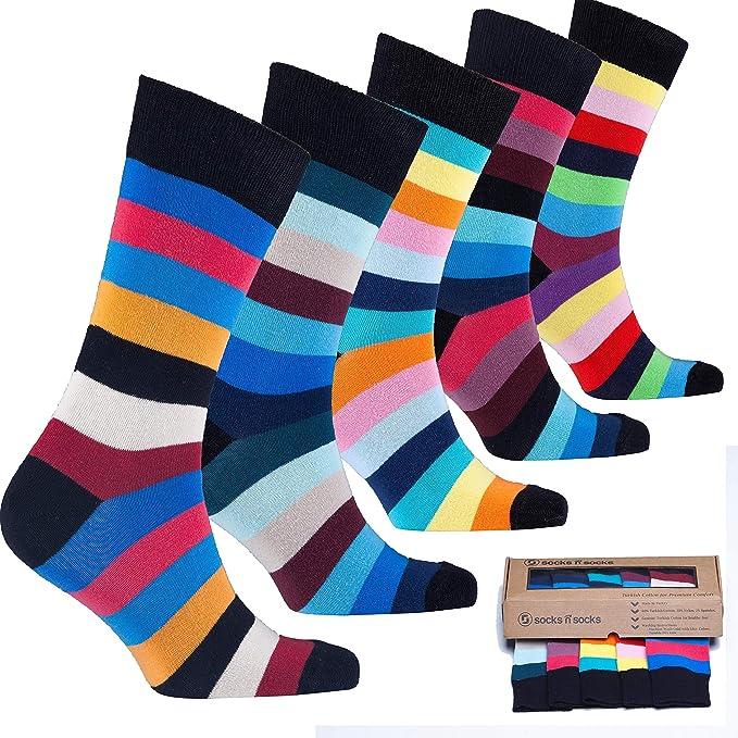 socks n socks Calcetines de algodón de colores para hombre - 5 pares Talle único Stripe-7: Amazon.es: Ropa y accesorios
