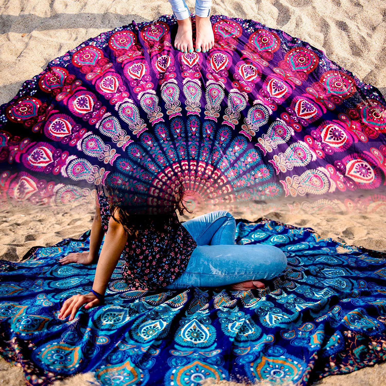 Set of 2 Mandala Tapestry Hippie Indian Round Mandala Beach Blanket Picnic Table Cover Spread Boho Gypsy Cotton Tablecloth Beach Towel Meditation Rug Circle Yoga Mat - 72 Inches, Blue and Pink