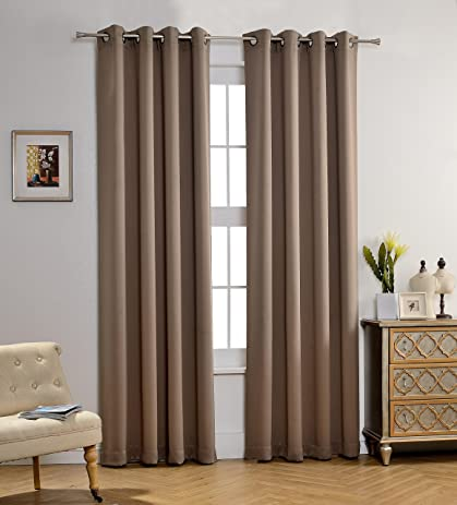 MYSKY HOME Solid Grommet Top Thermal Insulated Window Blackout Curtains For  Living Room, 52 X