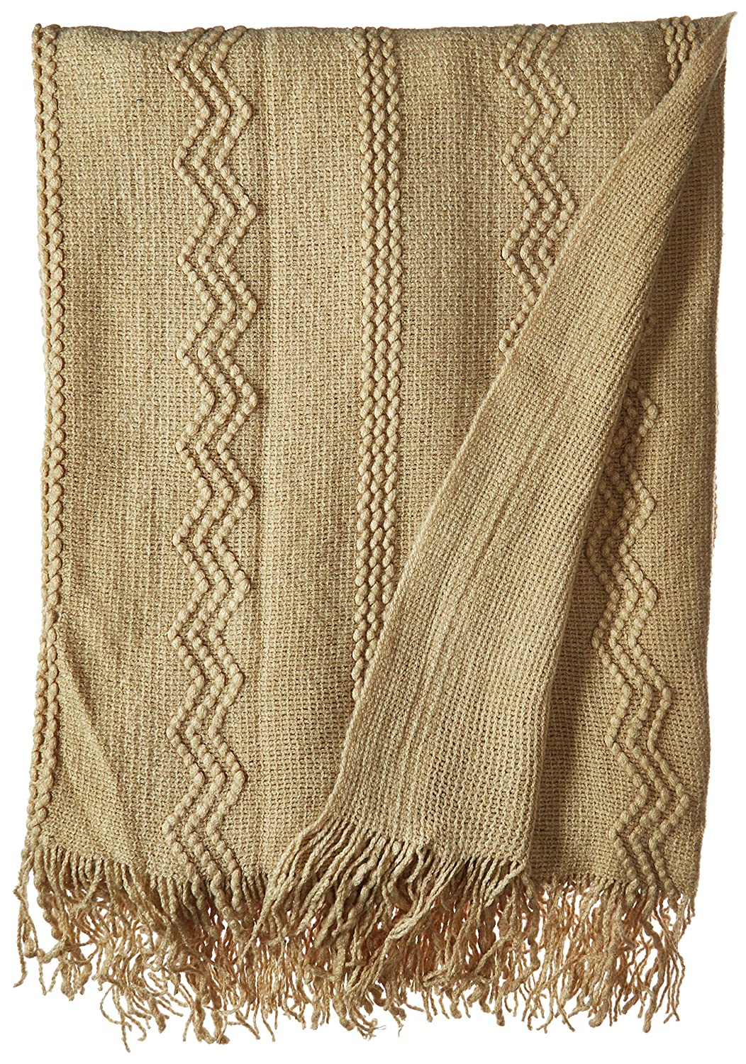 Battilo Inc Intricate Woven Throw Blanket with Raised Patterns and Tasseled End 50x60 Ivory BTL15018-C
