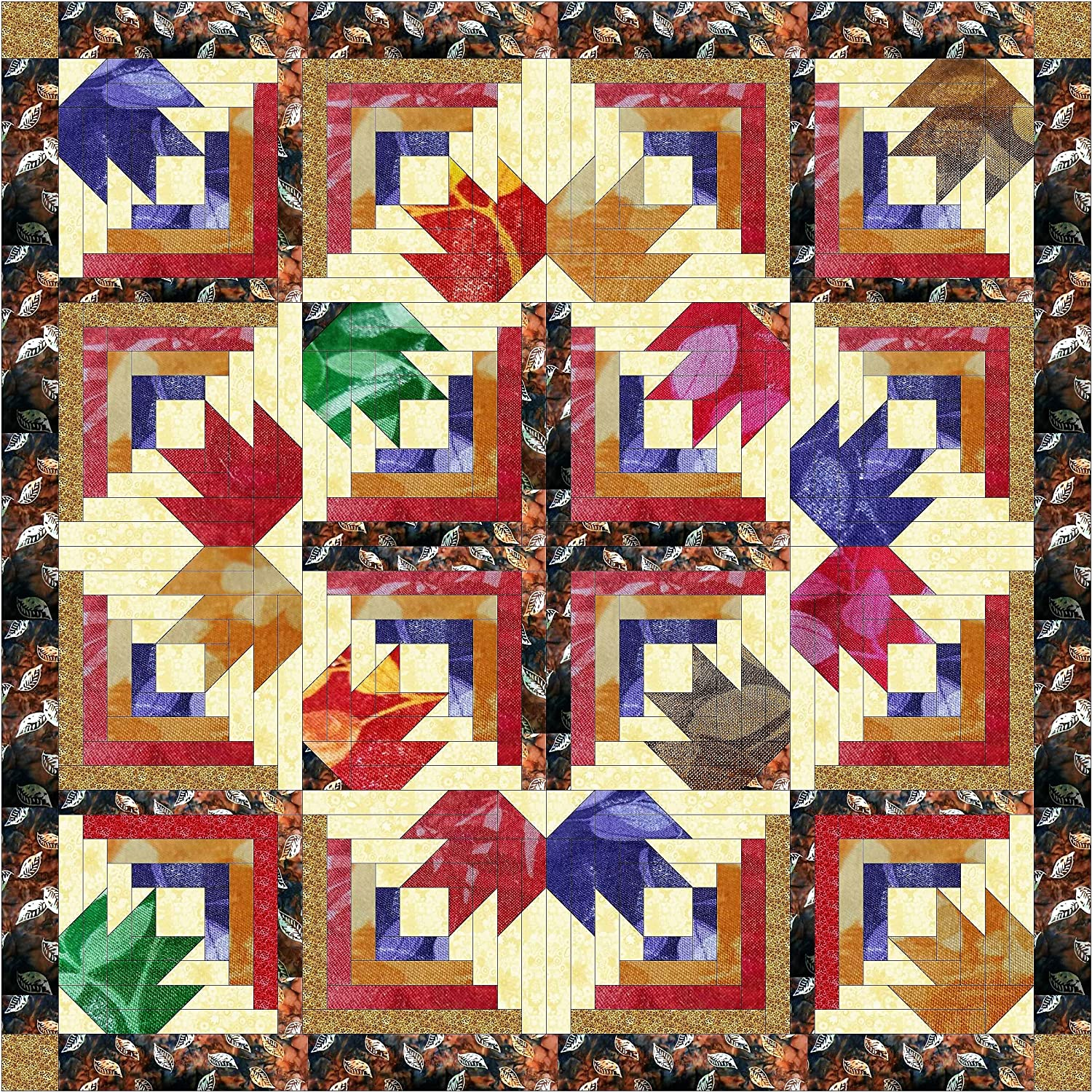 Quilt Kit Autumn Diamond Leaves/Batiks Galaxy/RJR