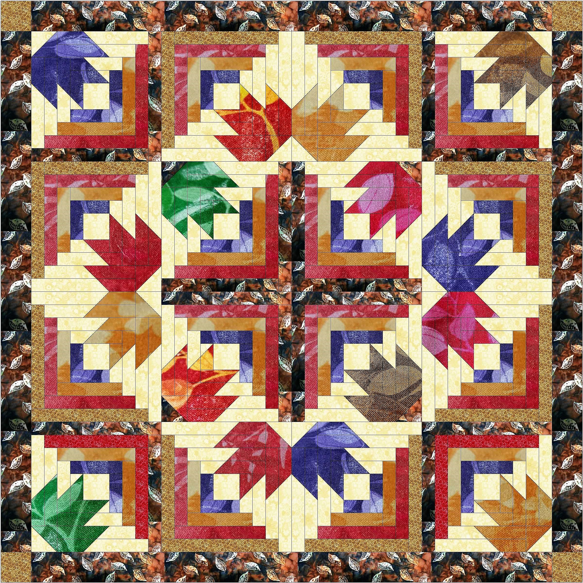 Quilt Kit Autumn Diamond Leaves/Batiks by Material Maven