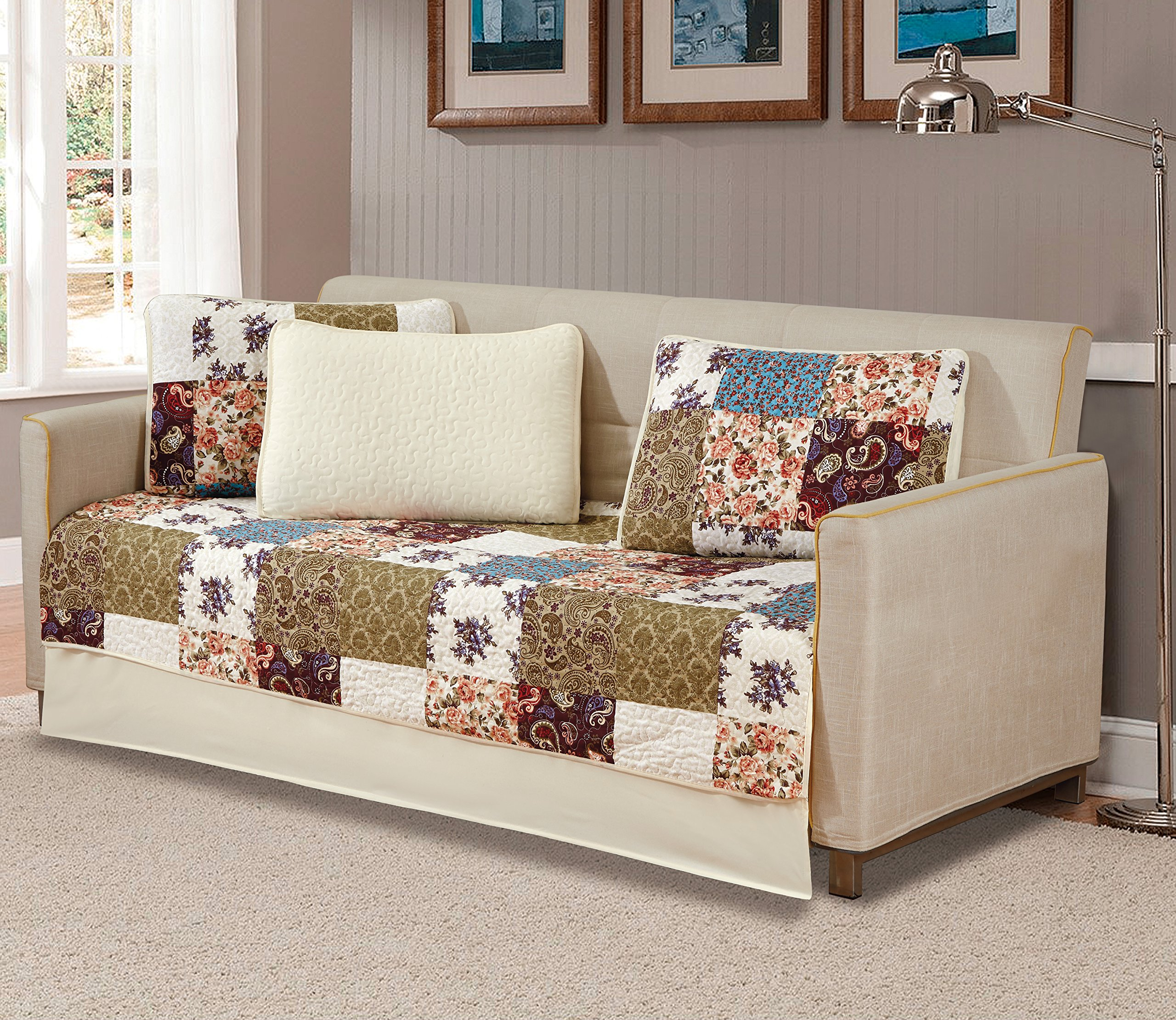 Mk Home 5 Pc Daybed Bedspread Quilted Print Floral Beige Burgundy Purple Blue Taupe Over Size New # Milano