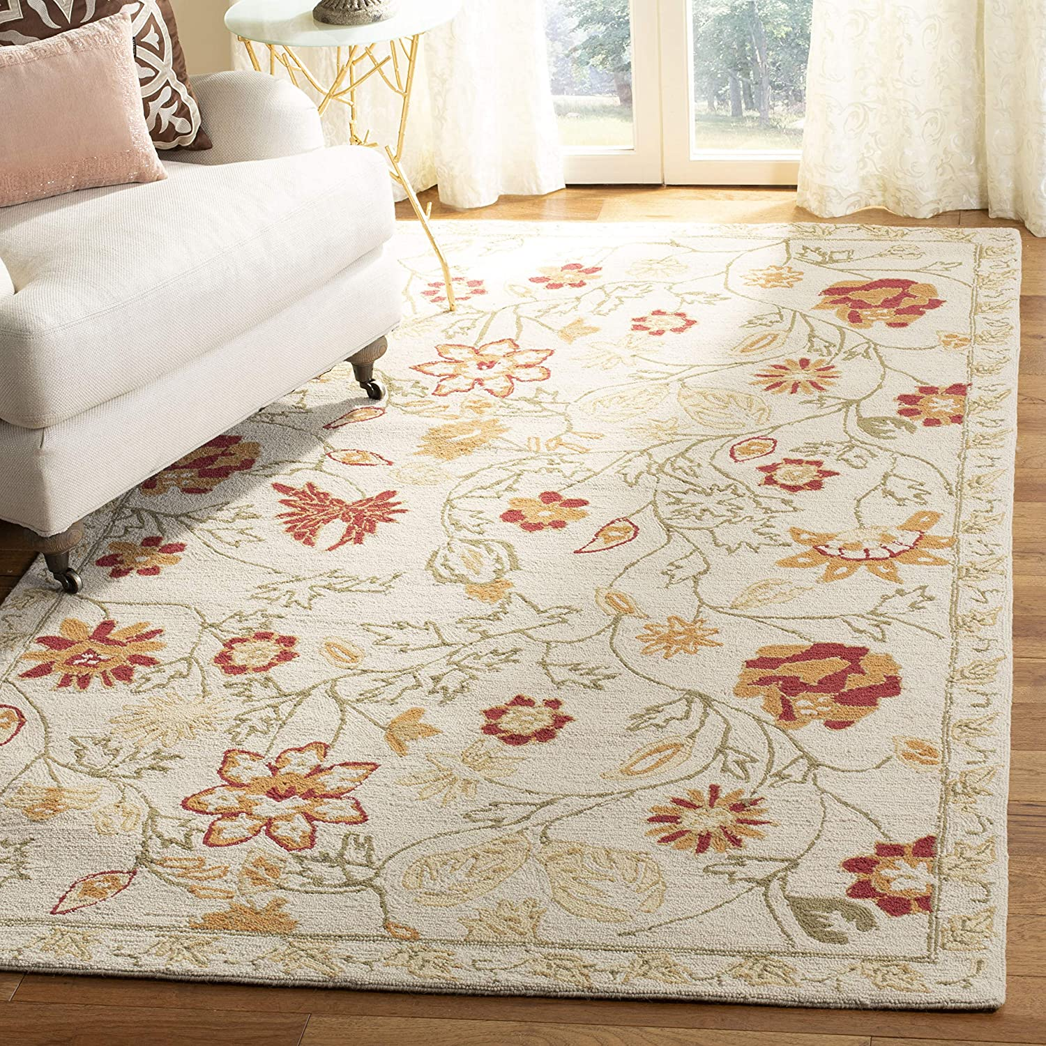 Safavieh Chelsea Collection HK716A Hand-Hooked Ivory and Green Premium Wool Area Rug (3'9