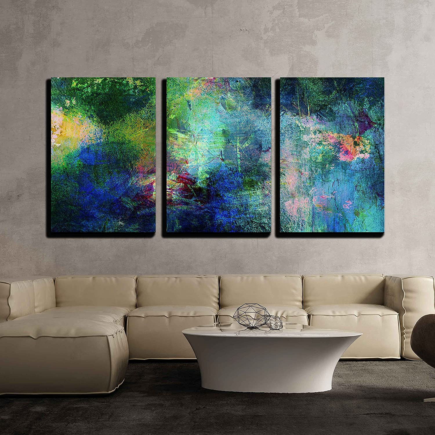 Wall26 3 piece canvas wall art soothing and vibrant blue and green splotches of paint modern home decor stretched and framed ready to hang
