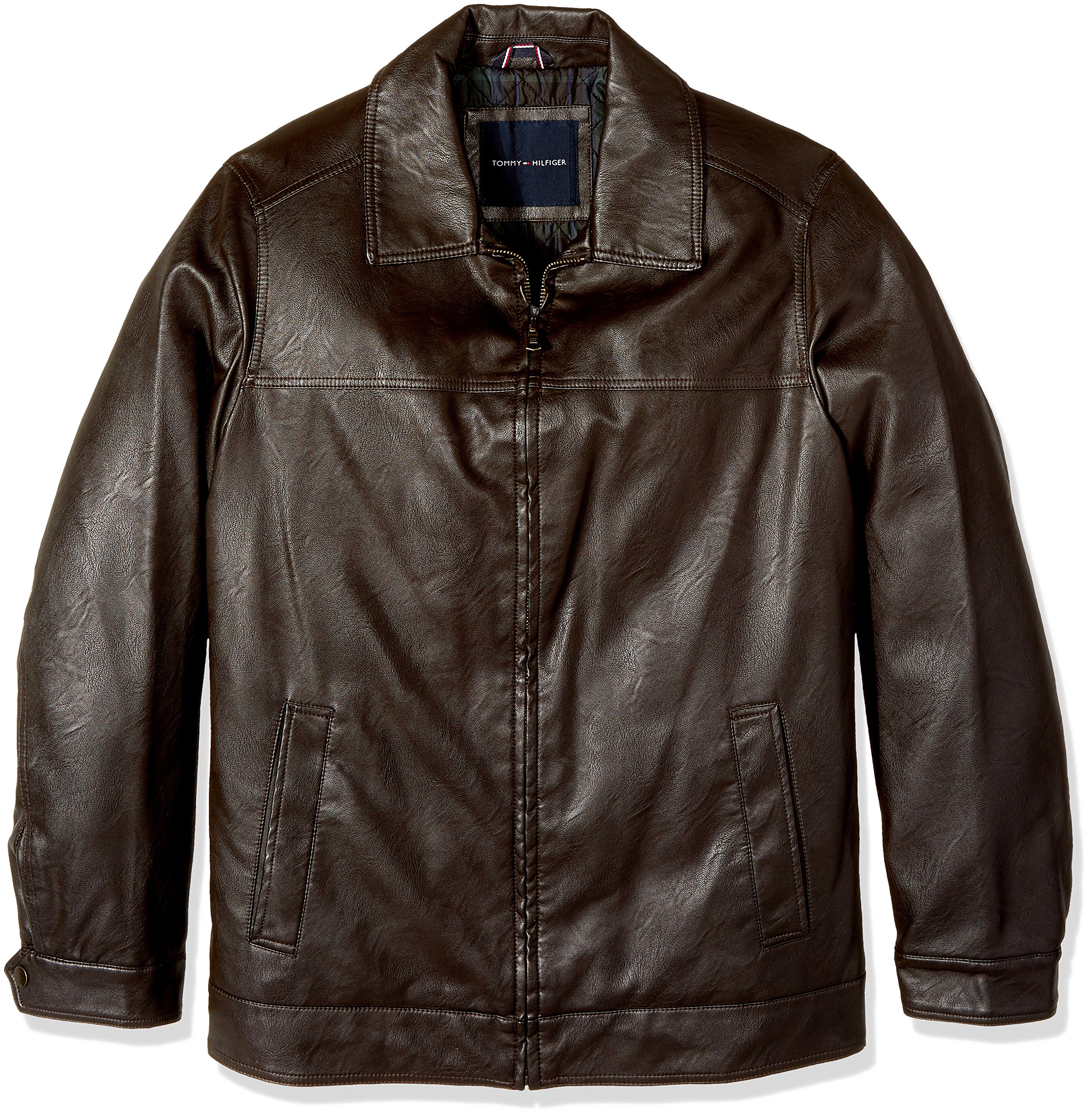 Tommy Hilfiger Men's Big & Tall Smooth Faux Leather Classic James Dean Jacket, Dark Brown, 2X Big