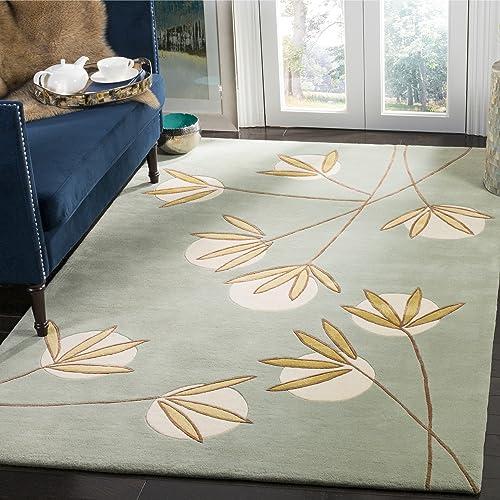Safavieh Soho Collection Handmade Light Blue and Green Premium Wool Area Rug 7'6″ x 9'6″