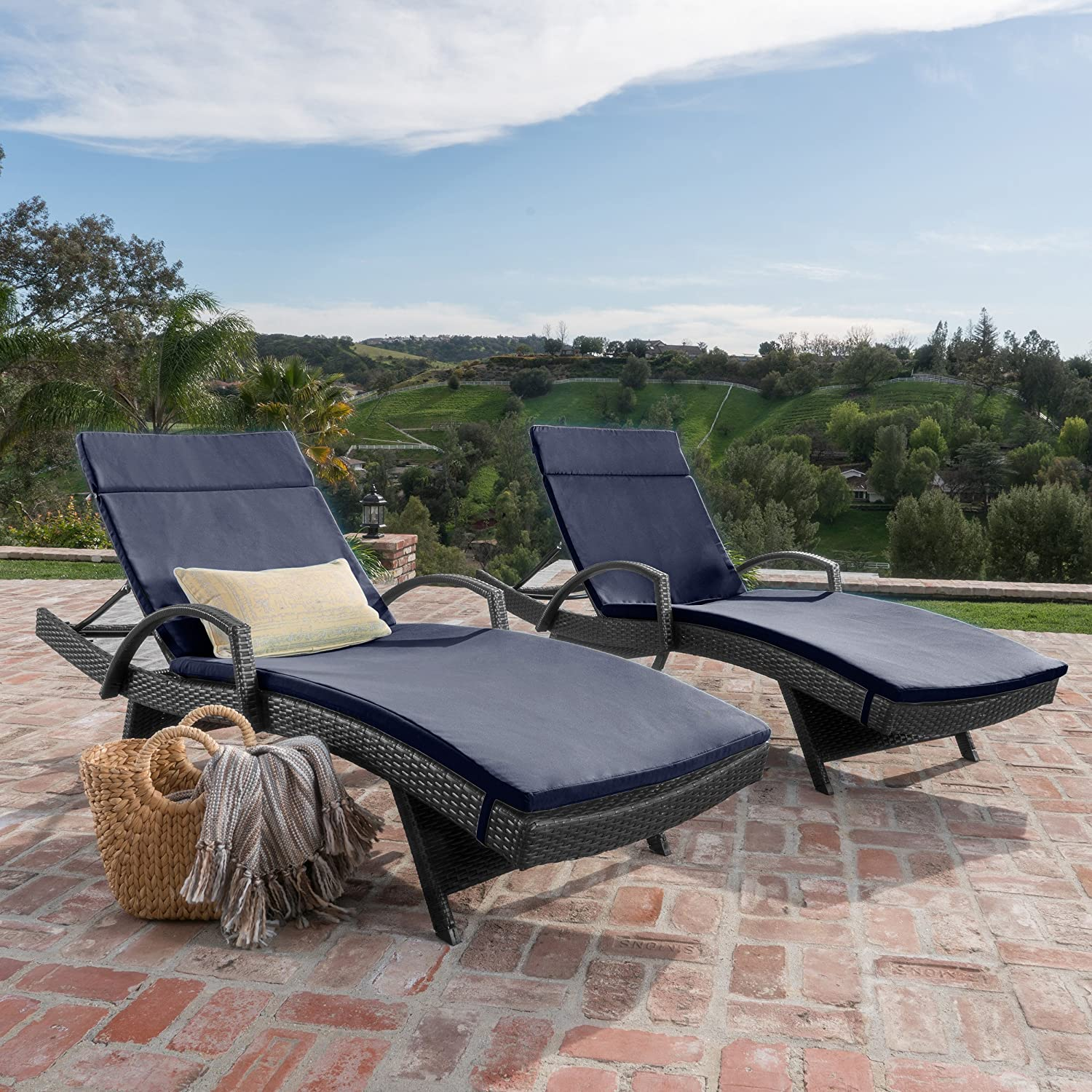 Amazon Com Olivia Patio Furniture Outdoor Wicker Chaise Lounge Chair With Arms W Water Resistant Cushions Set Of 2 Navy Blue Garden Outdoor