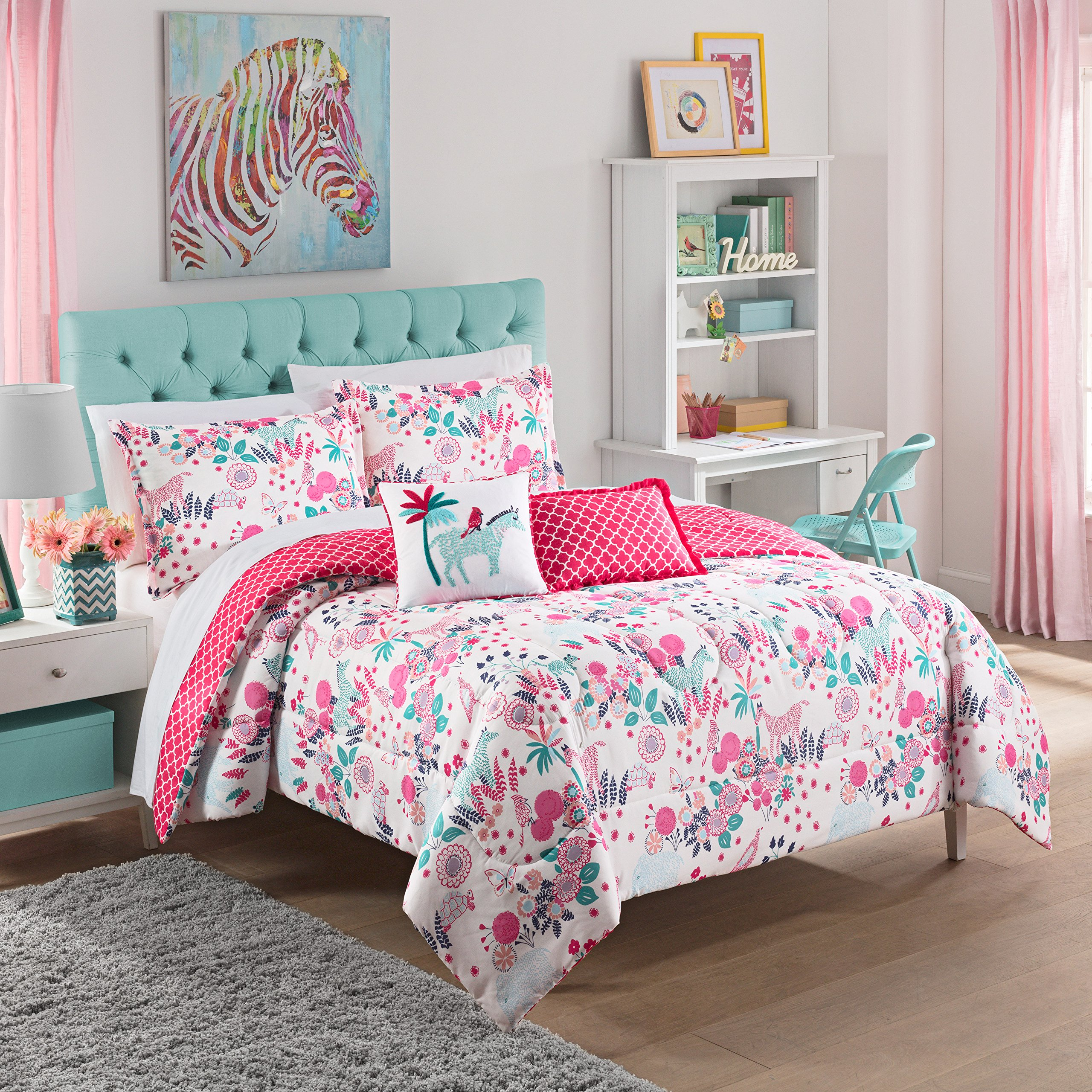 WAVERLY Kids 16440BEDDFULPNK Reverie 90-inch by 88-Inch Reversible Full Bedding Collection, Pink