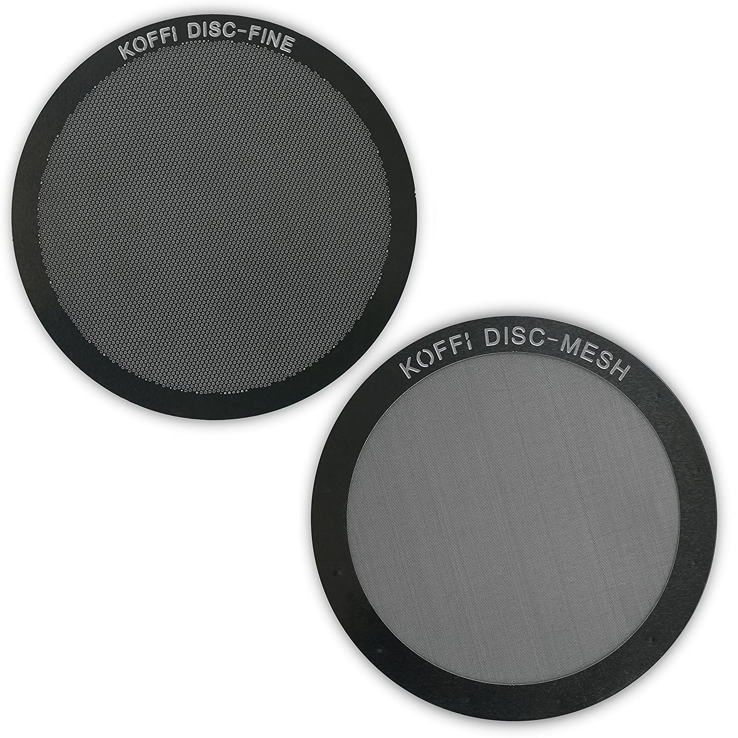 KOFFI ® DISC FINE & MESH - AeroPress Filter Twin Pack - Reusable Stainless Steel Metal Filters - Unlock Your Coffee's Potential