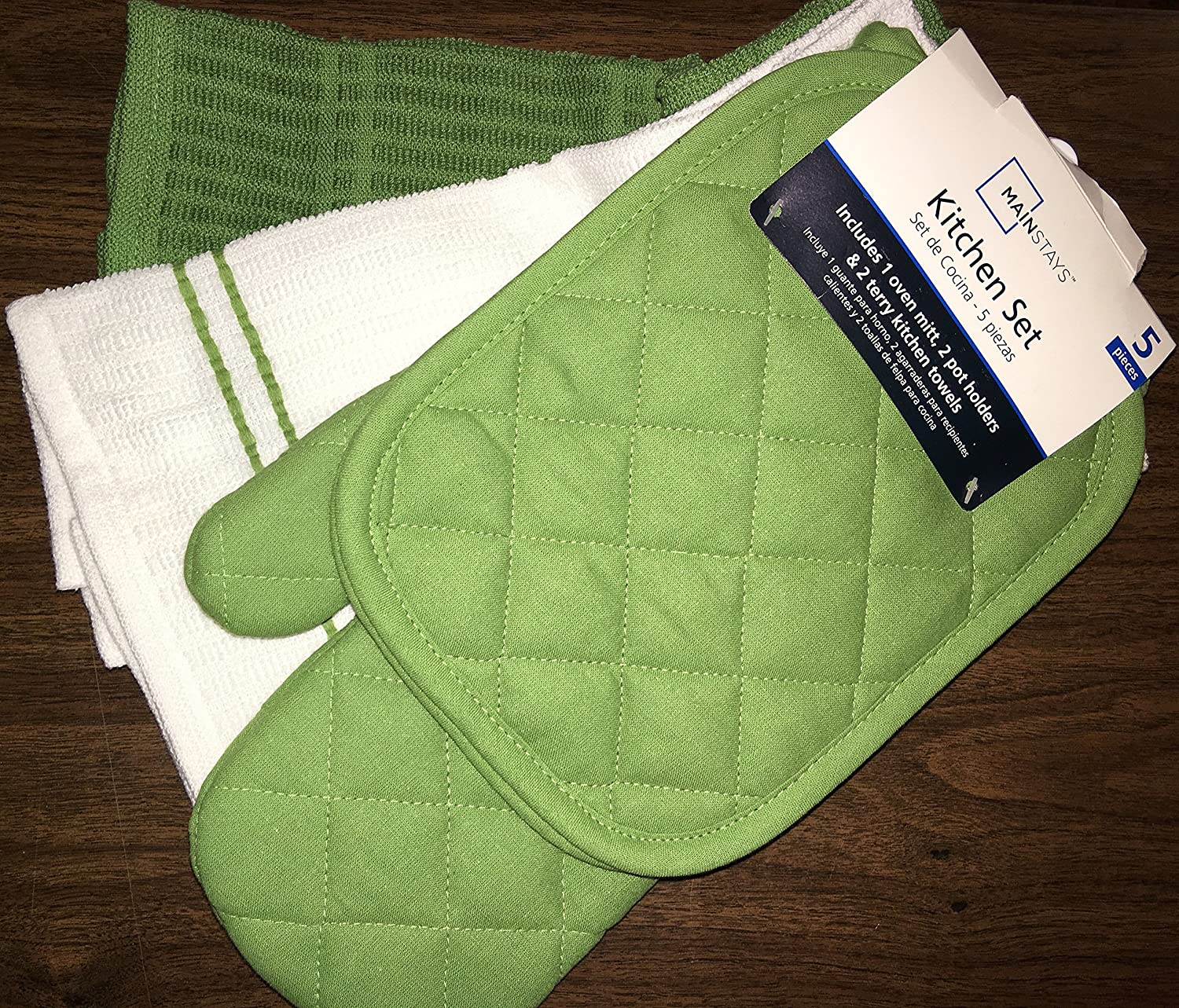 Amazon.com: Green Stalk Kitchen Towel Set 5 Piece- Pot Holders, Oven Mitt, and Terry Kitchen Towels: Home & Kitchen