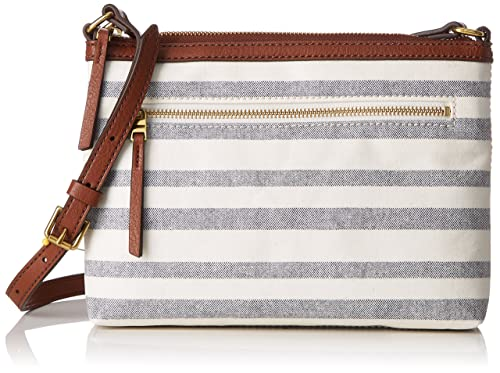 Damentasche? Fiona Crossbody, Womens Cross-Body Bag, Multicolour (Blue Stripe), 5.08x19.05x26 2/3 cm (B x H T) Fossil