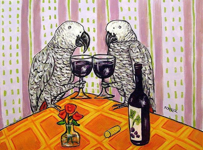 Amazon com: african grey parrot at the Wine Bar signed bird art
