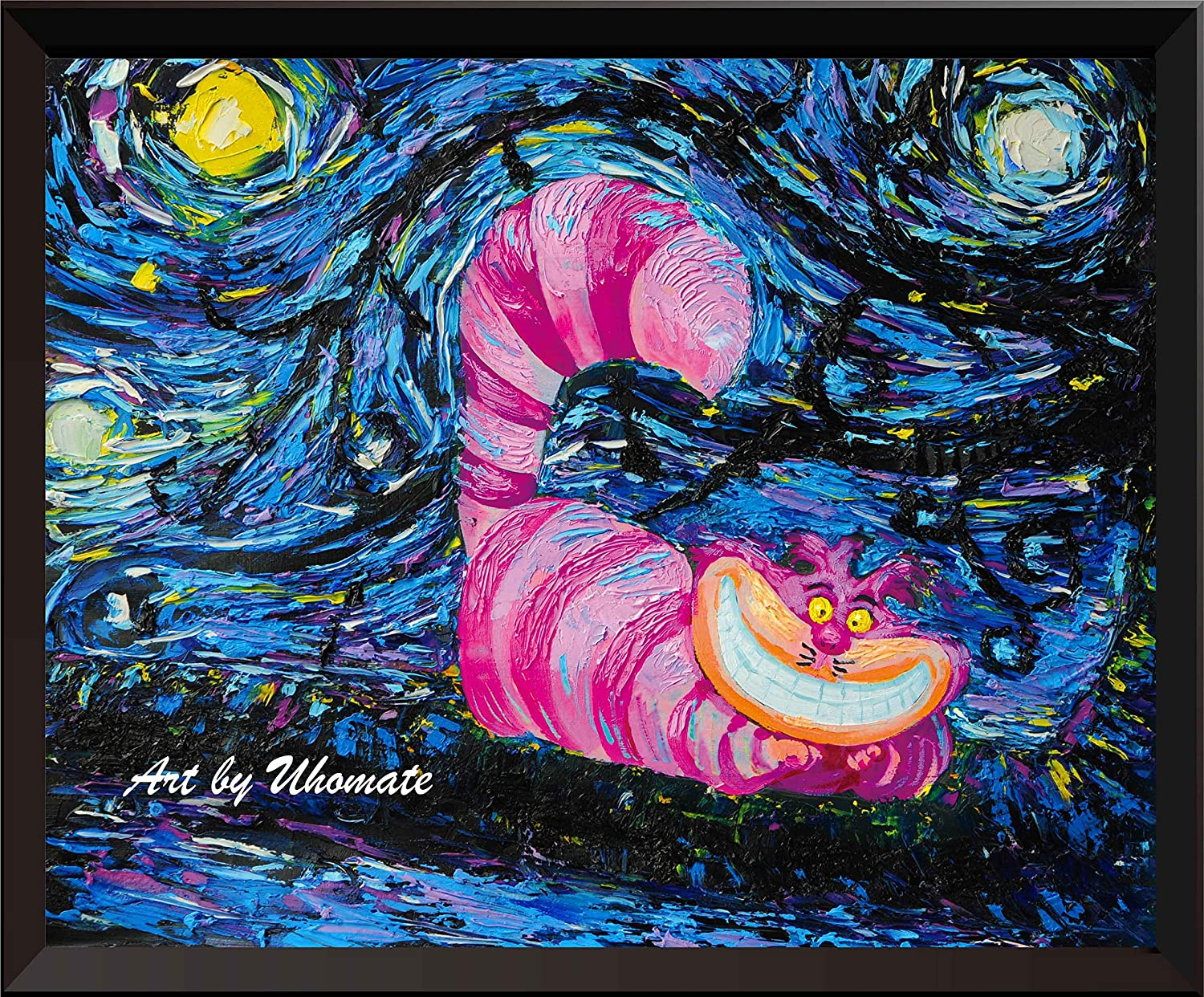 Uhomate Vincent Van Gogh Starry Night Posters Alice in Wonderland Cheshire Cat Alice Wonderland Home Canvas Wall Art Baby Gift Nursery Decor Living Room Wall Decor A009 (8X10)