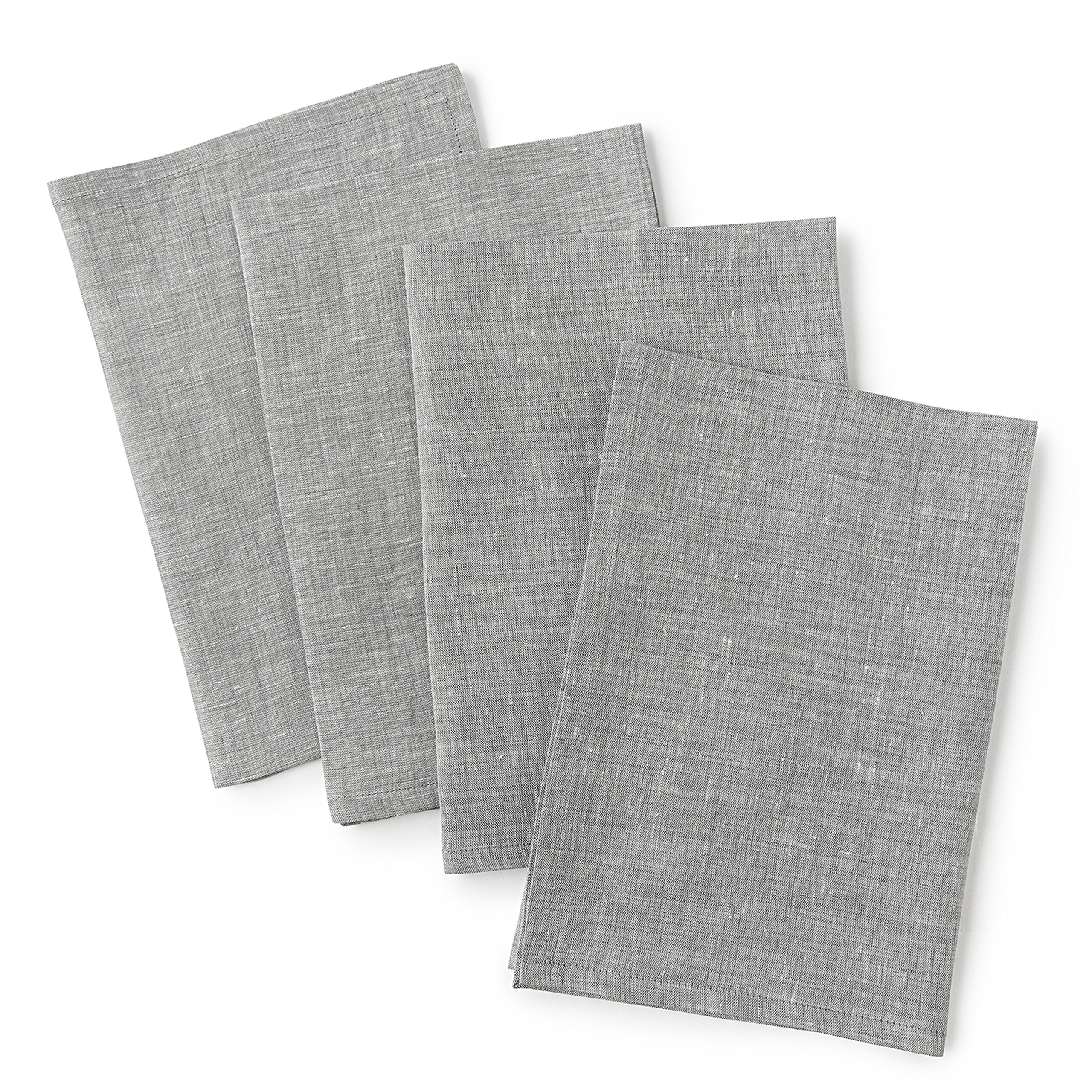 Solino Home Linen Dinner Napkins - 20 x 20 Inch Grey, 4 Pack Linen Napkins, Bella - 100% European Flax - Soft & Handcrafted with Mitered Corners