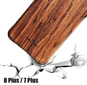 NeWisdom iPhone 8 Plus case Wooden, iPhone 7 Plus Case Wood, Shockproof Unique Hybrid Rubberized Cover [ Wood Over Rubber] Soft Real Wood Case for Apple iPhone 8Plus iPhone 7Plus – Sandalwood