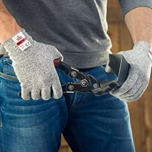 SAFEAT Safety Grip Work Gloves for Men and Women - Protective, Flexible, Cut Resistant, Comfortable PU Coated Palm. Free eBook Gift Included! Size Medium (Color: Grey, Tamaño: Medium)