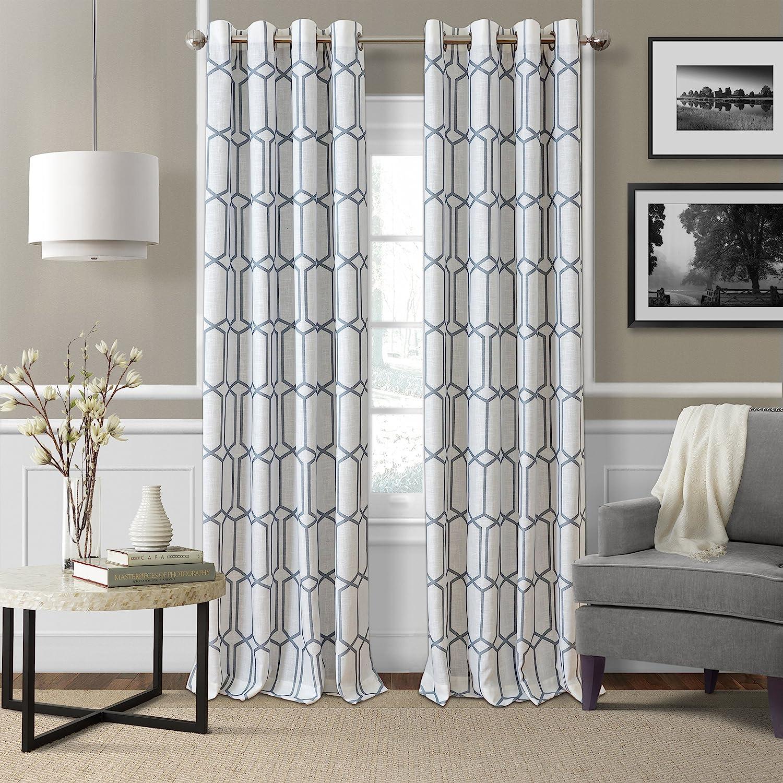 Elrene Home Fashions Kaiden Geometric Room Darkening Grommet Linen Window Curtain Drape Panel, 52