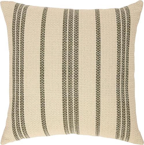 Amazon Brand Stone Beam Modern Striped Throw Pillow – 18 x 18 Inch, Olive Multi