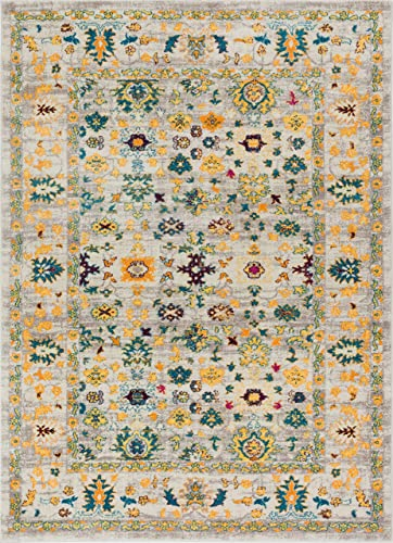 Acella Traditional Vintage Distressed Bright Floral Persian Yellow Beiges Blue Gold 8×10 7'10″ x 9'10″ Area Rug