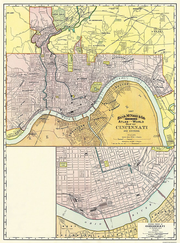 Amazon Com Old City Map Cincinatti Ohio Rand Mcnally 1897 23