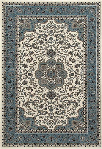 Art Carpet Kensington Collection Center Glow Border Woven Area Rug, 11 x 15 , Cream Aqua