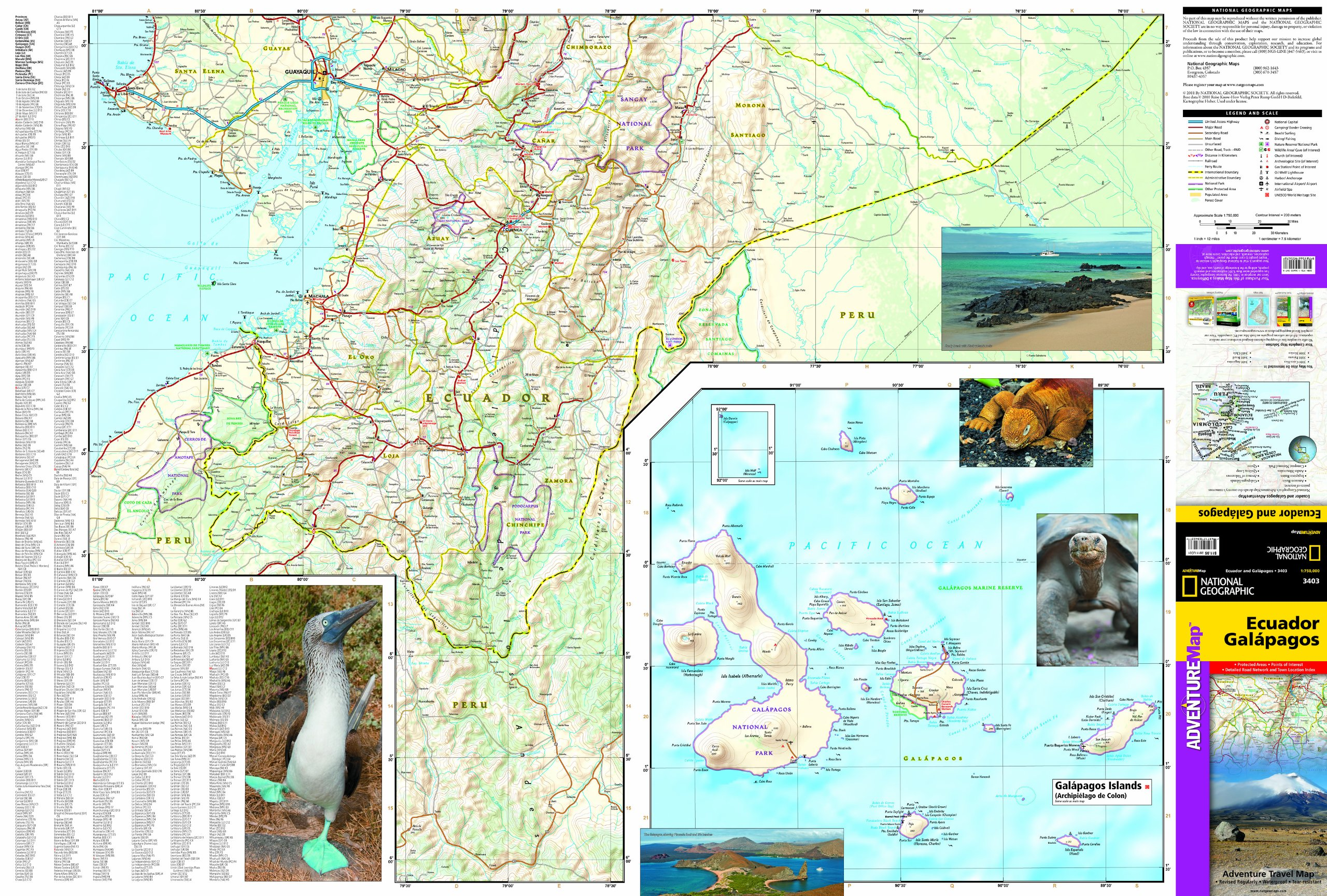 Ecuador and Galapagos Islands National Geographic Adventure Map