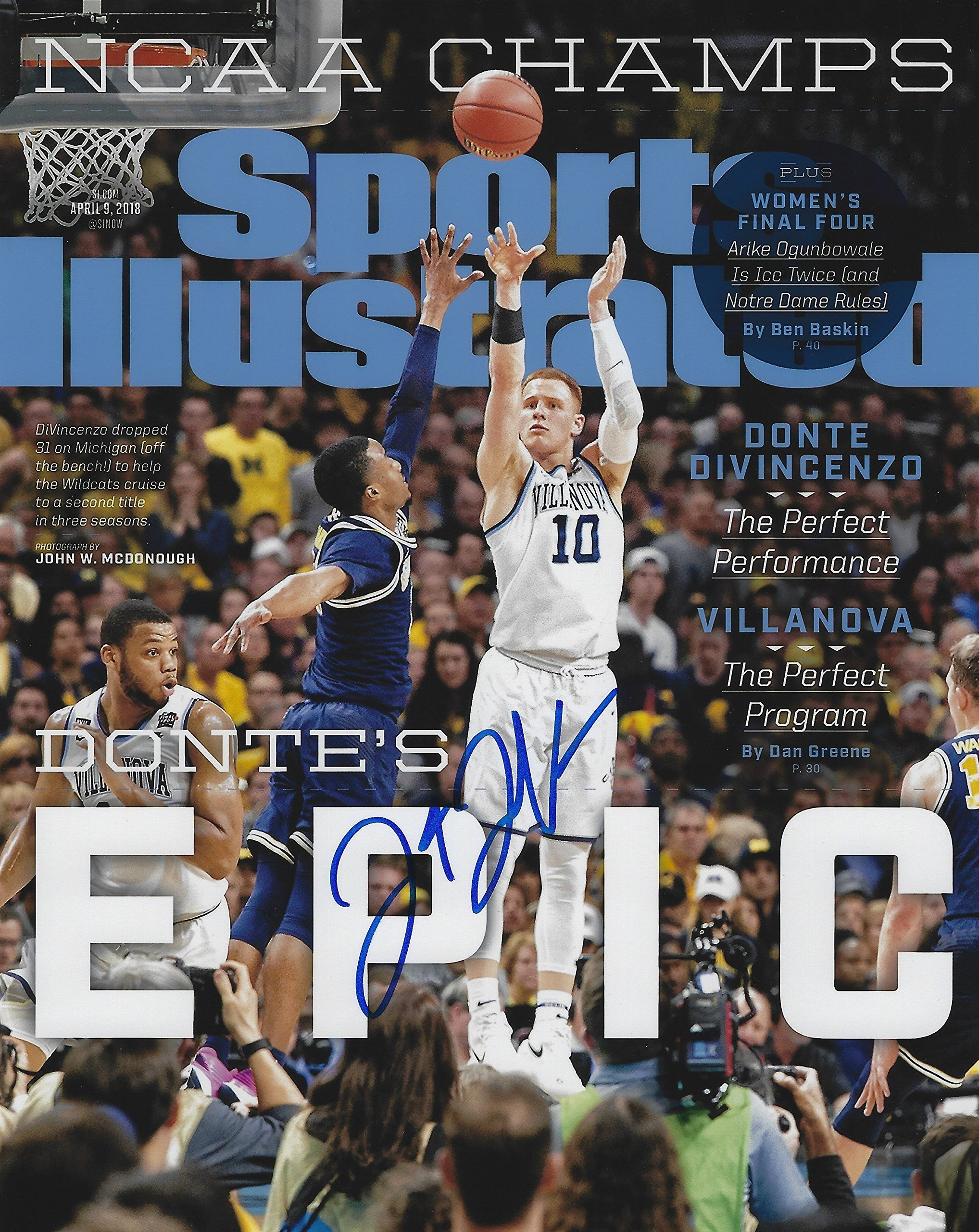 Autographed Donte DiVincenzo Villanova University Basketball 8x10 photo with COA
